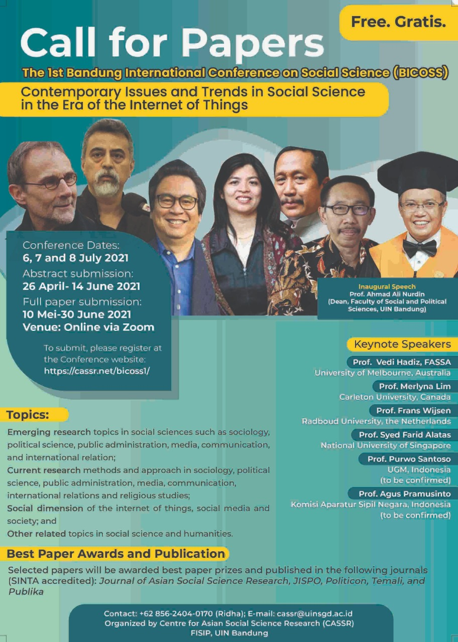 The 1st Bandung International Conference on Social Science (BICOSS): Contemporary Issues and Trends in Social Science in the Era of the Internet of Things